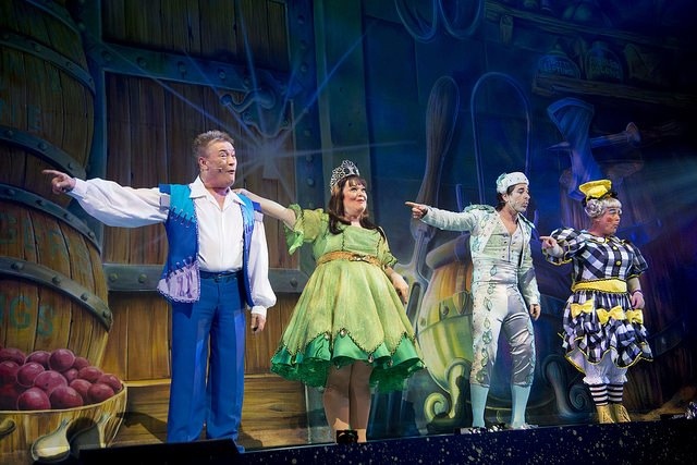 Billy Pearce, Lisa Reilly, Jake Canuso and Adam Stafford in Jack & the Beanstalk. Photo: Nigel Hillier.
