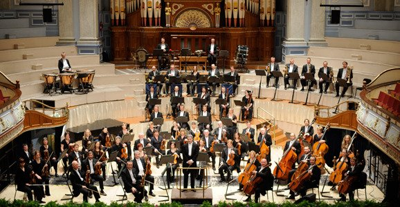 Orchestra of Opera North at Leeds Town Hall.