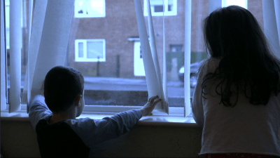 Rochelle's kids looking out of window