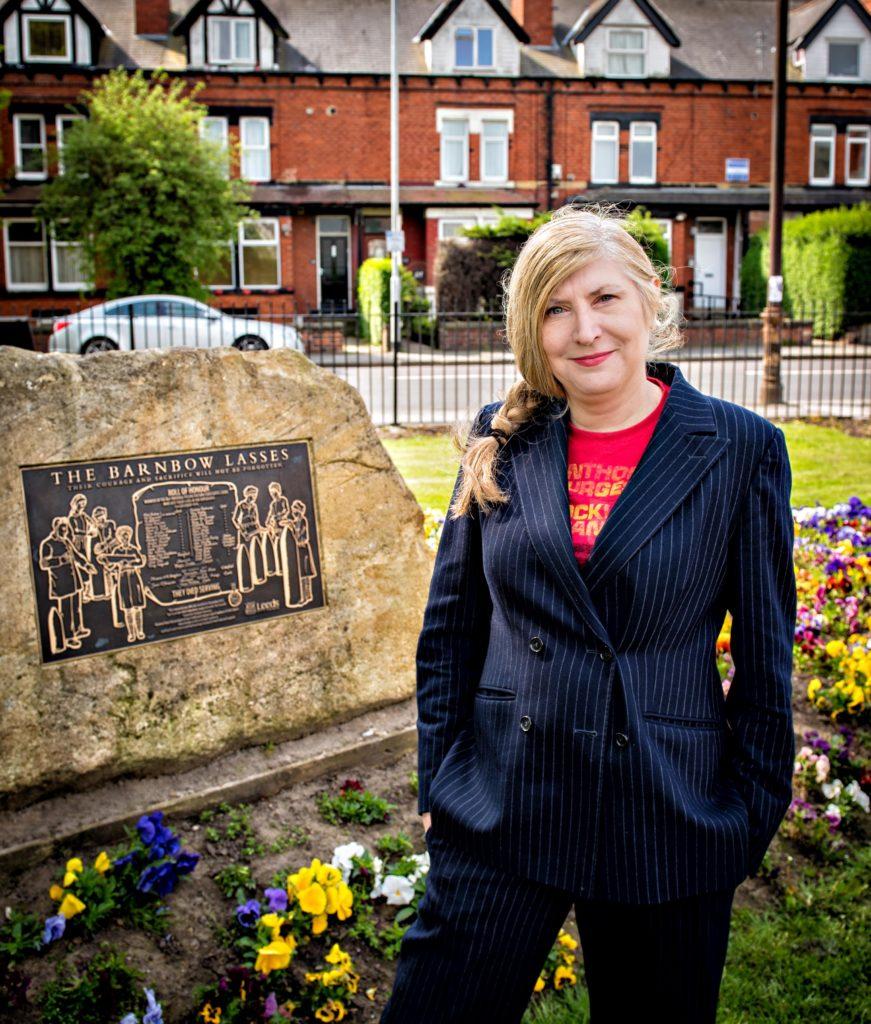 Alice Nutter at the Barnow Lasses memorial garden in Manston Park