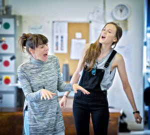 Barnbow Canaries in rehearsal Jo Mousley & Colette O'Rourke. Photography by Anthony Robling