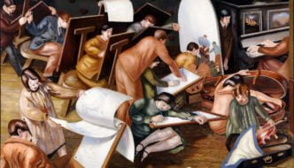 Stanley Spencer, The Art Class, Left outer panel from the Empire Marketing Board Series, 1929, oil on canvas. Gift from the Audrey & Stanley Charitable Trust, 2009. University of Leeds Art Collection © The Estate of Stanley Spencer / Bridgeman Images