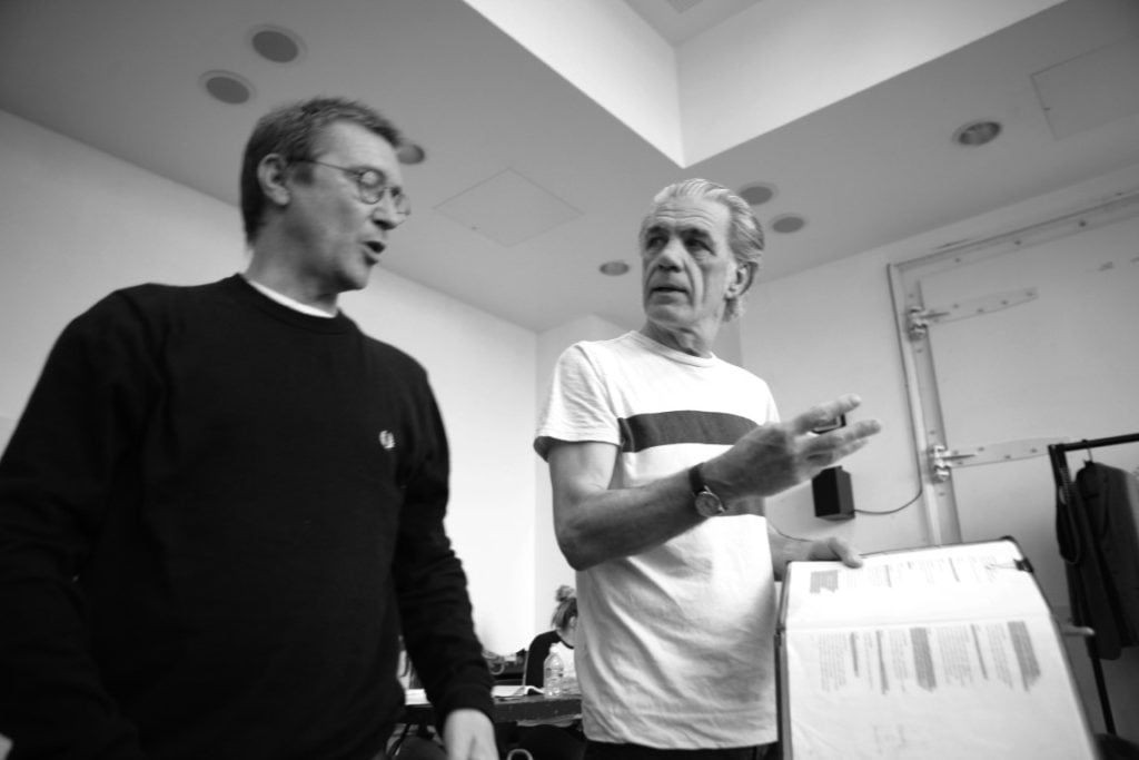 Nick Bagnell and Garry Cooper (The Duke of Milan) in rehearsal for The Two Gentlemen of Verona. Photo Credit: Gary Calton.