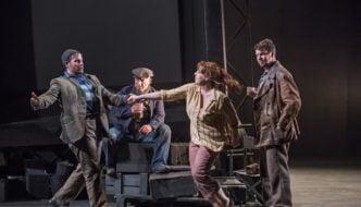 Stuart Laing as Tinca, Richard Mosley-Evans as Talpa, Giselle Allen as Giorgetta and David Butt Philip as Luigi. Photo Tristram Kenton