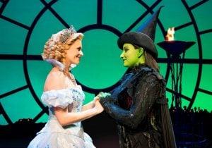 Production Image Wicked - Glinda and Elphaba a previous cast. Photo credit Matt Crockett_LR