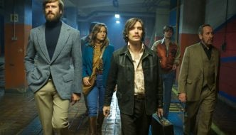 Photo Credit: Kerry Brown. Armie Hammer as Ord, Brie Larson as Justine, Cillian Murphy as Chris, Sam Riley as Stevo and Michael Smiley as Frank in FREE FIRE.