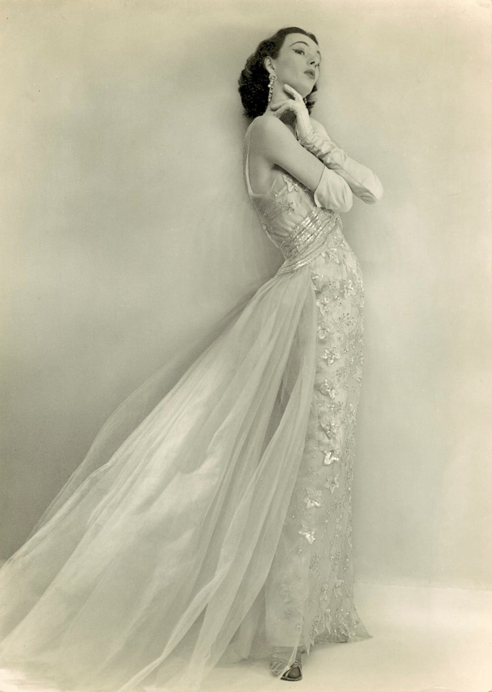 June modelling a pale pink beaded silk evening dress by Worth about 1952 -55 photograph by Michael Dunne Gloucester Cromwell Roads London