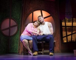 Jodie-Prenger-and-Andrew-Flintoff-for-Kay-Mellors-Fat-Friends-the-Musical.-Photo-by-Helen-Maybanks.-002