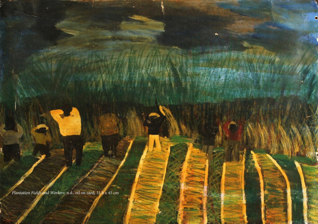 Painting of people working in a field, with long grass and a dark night sky