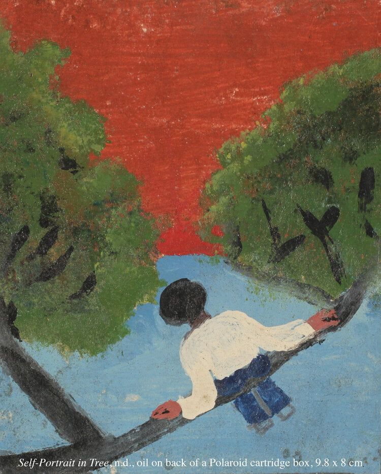 Painting of a man in a long top sitting on a tree branch leaning back, against a blue and red background amongst green foilage