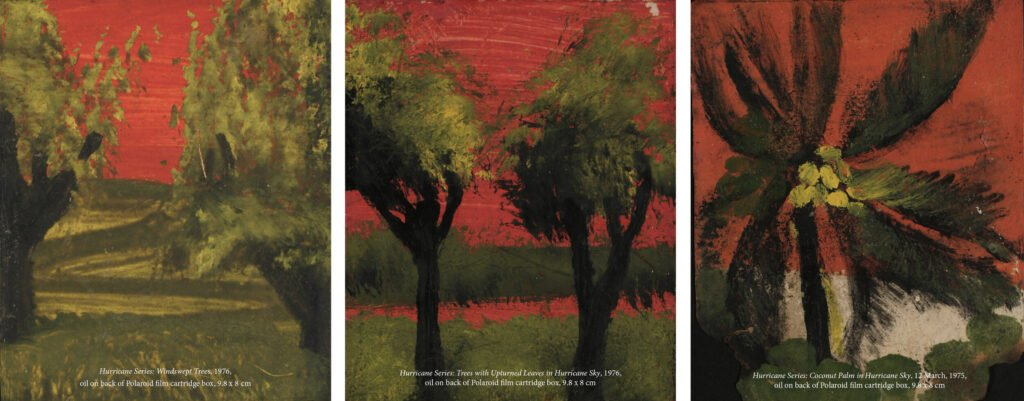 Three paintings of trees with green leaves against a red background