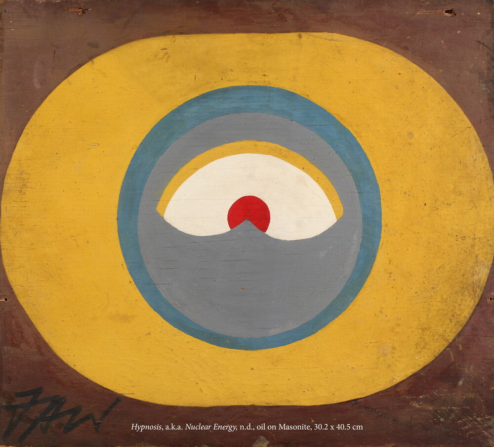 Abstract painting of a large yellow pill-shape, with a blue circle inside and and eye with a red pupil, all against a brown background