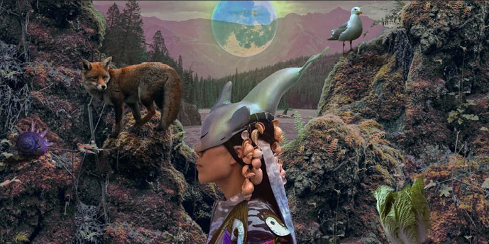 Person wearing a metal-looking mask shaped like a shark that goes over their eyes, in the background there is a fox and a dream-like landscape
