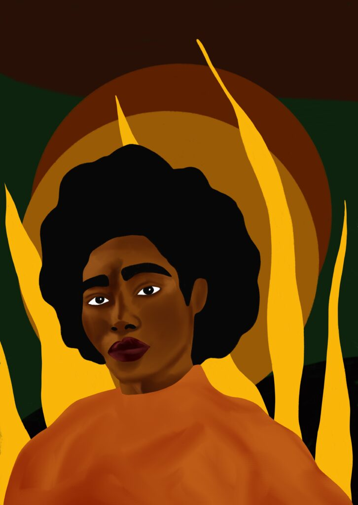 Painting of a black woman with an afro hairstyle, very piercing eyes and a very serious, attentive expression, she is wearing an orange top. There are some circular shapes in the background, alongisde birght yellow flames, or what looks like the suggestion of flames.