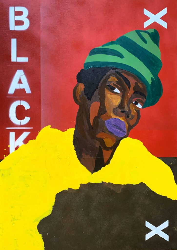 Painting of a black person in a green hat, with purple lips, in a bright yellow top. There is a red background and the word black in capital letters on the left hand side. There are two xs in the top and bottom right corners.